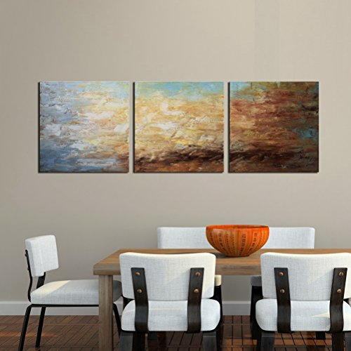 Aitesi Art Abstract Wall Art 100% Hand Painted Modern Oil Painting on Canvas Large Framed Blue and Brown 3 Piece Artwork Ready to Hang for Living Room Bedroom Office Home (Abstract Large Wall)