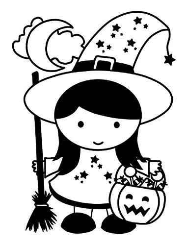Quality Prints - Laminated 24x32 Vibrant Durable Photo Poster - Halloween Little Witch Stars Magic Trick-Or-Treat Broomstick Crescent Moon Archives B W]()