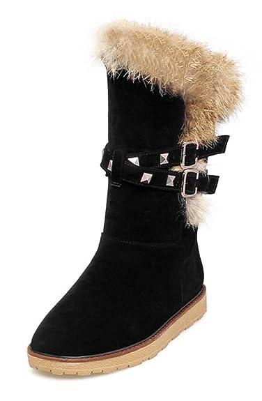 Women's Stylish Faux Fur Lined Waterproof Rivet Pull On Mid Calf Low Heel Platform Warm Winter Snow Boots