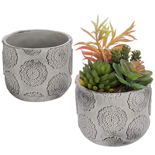 MyGift Set of 2 Gray Clay Rosette-Design Mini Planter Pots