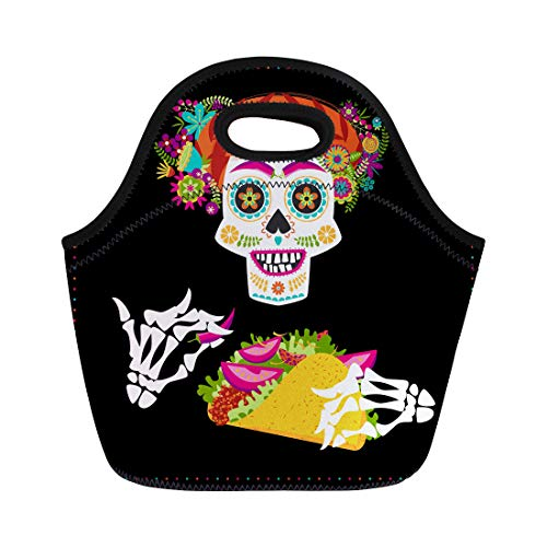 (Semtomn Neoprene Lunch Tote Bag Smiling Skull Taco and Hairdo Decorated Various Flowers Mexican Reusable Cooler Bags Insulated Thermal Picnic Handbag for Travel,School,Outdoors,)