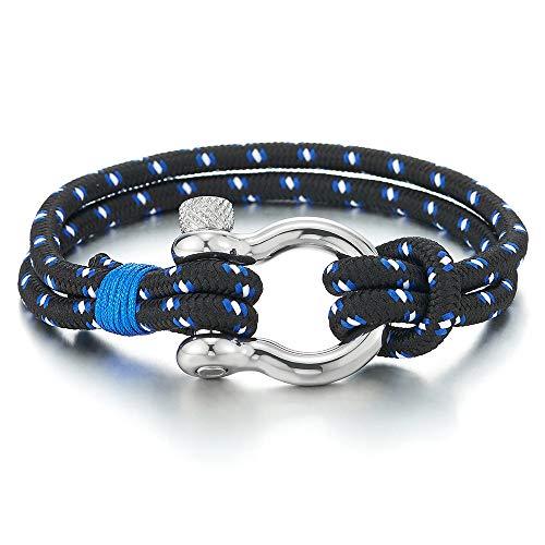 COOLSTEELANDBEYOND Mens Womens Steel Screw Anchor Shackles Nautical Blue White Sailor Rope Cord Wrap Bracelet Wristband