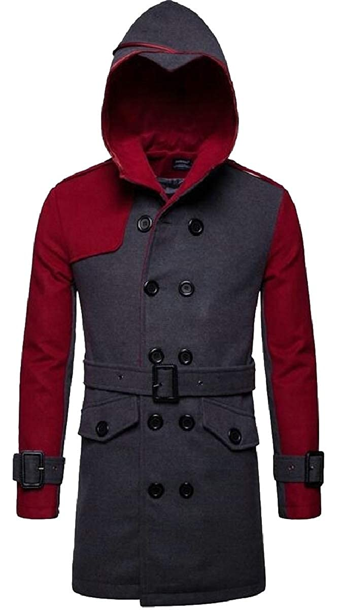 1 ZXFHZS-CA Men's color Block Double Breasted Hoodie Wool Blended Trench Pea Jacket