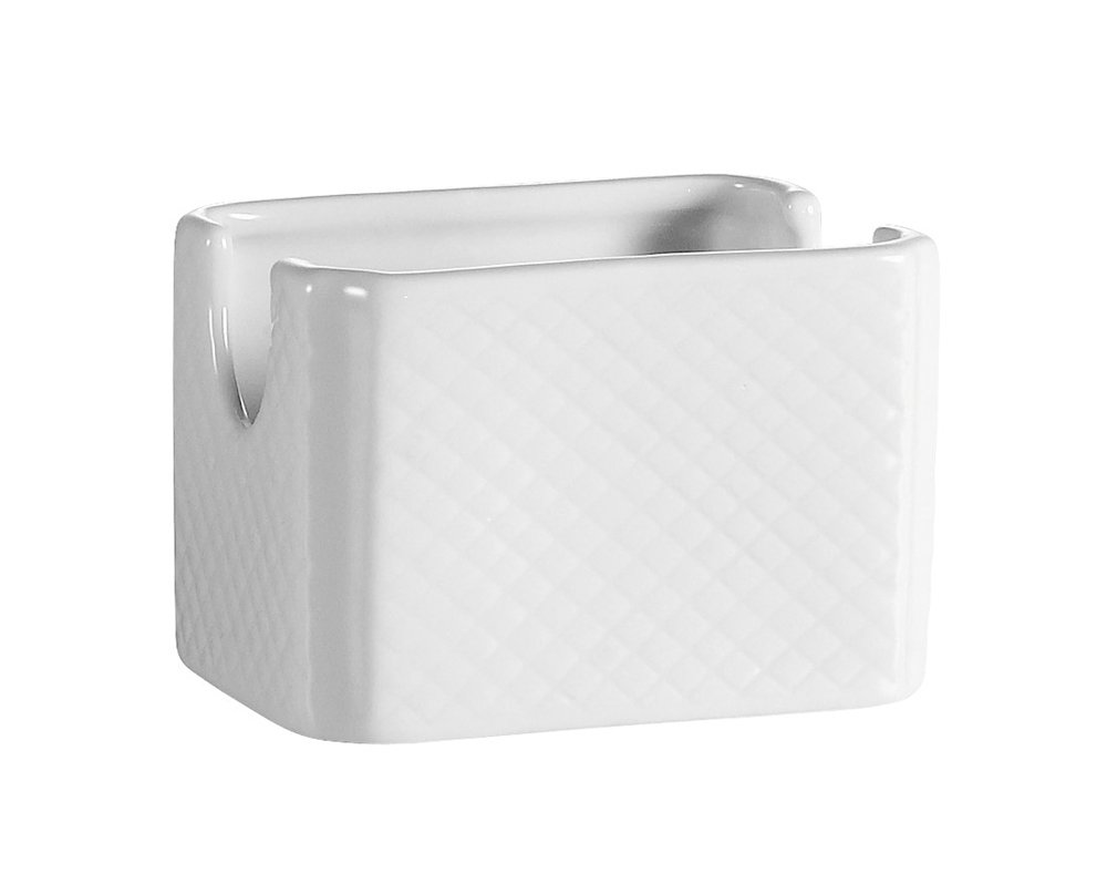 CAC China BST-HSP Boston 3-1/2-Inch by 2-1/2-Inch Super White Porcelain Sugar Packet Holder, Box of 48