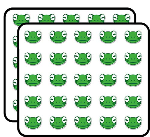 (Green Frog Sticker for Scrapbooking, Calendars, Arts, Kids DIY Crafts, Album, Bullet Journals 50 Pack)