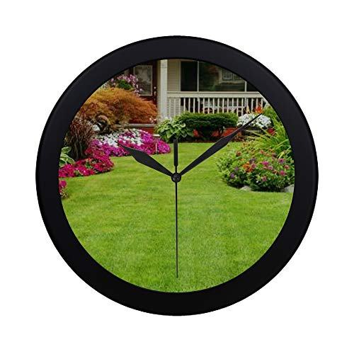 Modern Simple Front Yard And Backyard Landscaping Ideas Designs Pattern Wall Clock Indoor Non-ticking Silent Quartz Quiet Sweep Movement Wall Clcok For Office,bathroom,livingroom Decorative 9.65 Inch