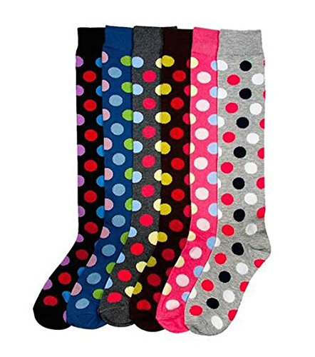 Dots Knee High - Mamia Lovely Ladies Assorted Knee High Stocking Socks 6pk (Polka Dots)