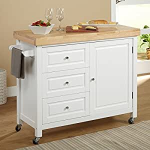 target kitchen island white amazon com simple living monterey white kitchen cart kitchen dining 4851