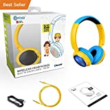 BLACK FRIDAY DEAL! Contixo KB-300 Kid Safe 85DB Over the Ear Wireless Bluetooth LED Headphone with Volume Limiter, Built-in Microphone, Micro SD, FM Stereo Radio, Audio Input, Blue + Yellow
