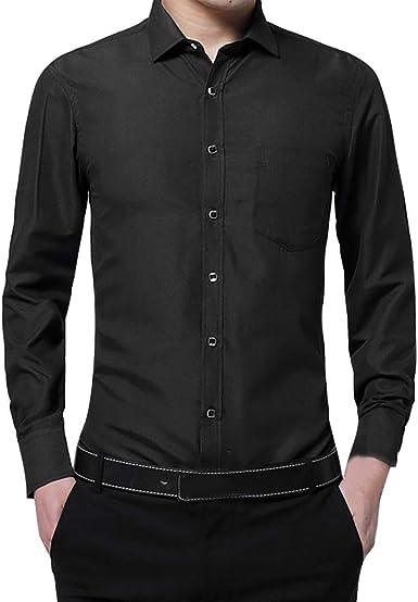 Camisa para Hombres Transpirable Manga Larga Color Sólido para Hombres Slim Fit Formales/Casual Camisas Negocios Clásico Bambú Fibra Camisa Tops Blusa para Hombres: Amazon.es: Ropa y accesorios