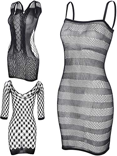 3 Pieces Black Fishnet Dresses Mesh Lingerie Fishnet Hollow Fishnet Sleepwear for Women Favor (Color Set 1)