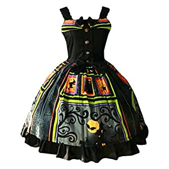 Partiss Womens Classic Halloween Printed Bows Sweet Lolita Dress Vintage JSK, Chinese M, Spider