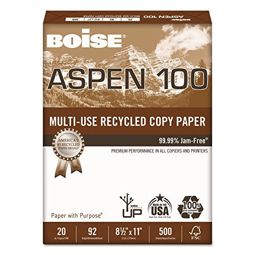 Boise 054922 ASPEN 100% Multi-Use Recycled Paper, 92 Bright, 20lb, 8-1/2 x 11, White (Case of 5000 (100% Recycled Paper)