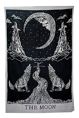 Decor India Crying Wolf To The Moon Tapestry Wall Hanging  Black And White