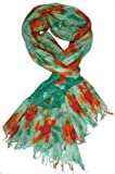 LibbySue-100% Cotton Batik Splash Print Scarf in Multi-Colors of Green, Orange