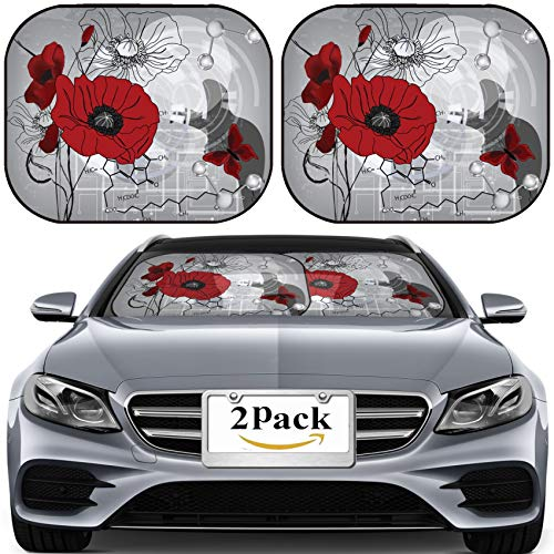 Poppies Modern Printed (MSD Car Sun Shade for Windshield Universal Fit 2 Pack Sunshade, Block Sun Glare, UV and Heat, Protect Car Interior, Modern Poppies Composition with Water Molecules and Chlorophyll Formula All e)