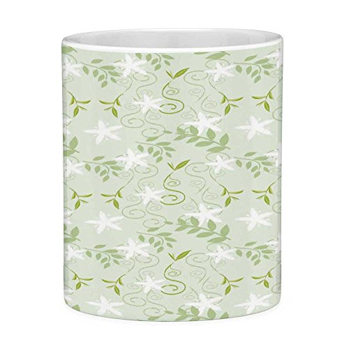Lead Free Ceramic Coffee Mug Tea Cup White Mint 11 Ounces Funny Coffee Mug Swirling Floral Branches with Leaves and Flower Florets Nature Print Lime and Fern Green White