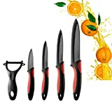 HILLPOW 5-Piece Classic Ceramic Knife Set with Anti-Slip Silicone Handle and Fruit Peeler - Black