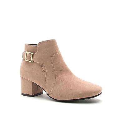 Women's Ankle Boot w/Buckle Faux Suede Wenona-03