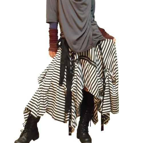 Hippies Women's Punk Vkei Skirts dress long Length dress Asymmetry One Size 2791 stripe