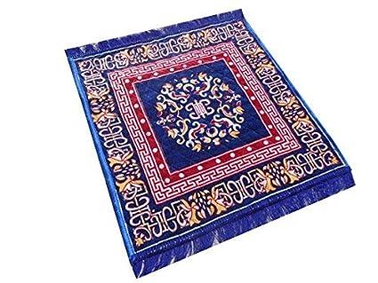 Yellow Weaves Polyester Pooja Aasan (2 x 2 Feet, Blue)