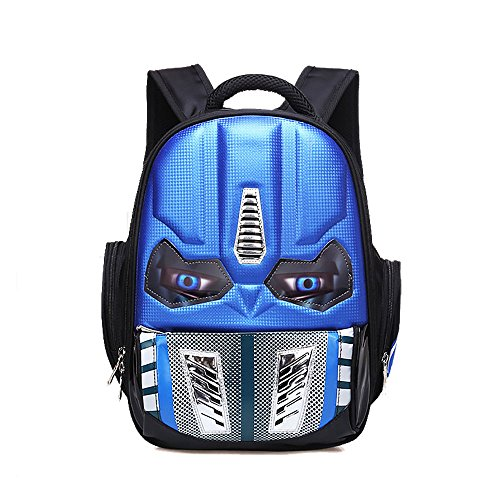 Alipher School Backpack Waterproof Kids Backpack Comic School Bag Student Bookbag Transformers Large Size Blue