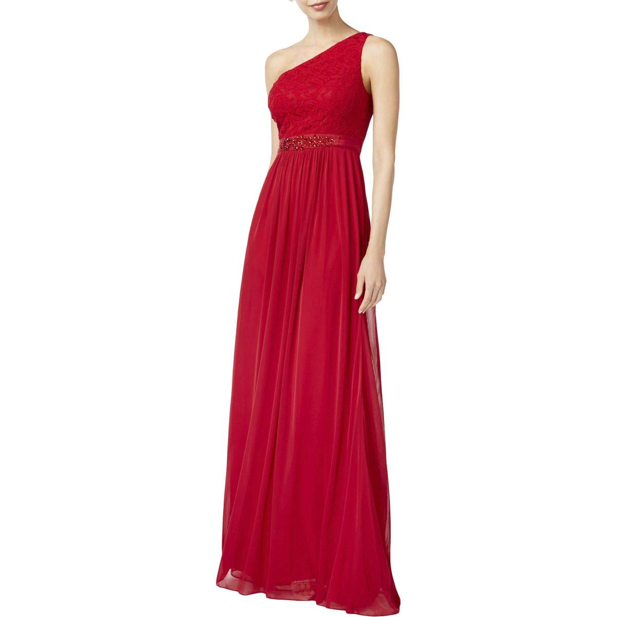 Cherry Adrianna Papell Womens One Shoulder Lace Evening Dress