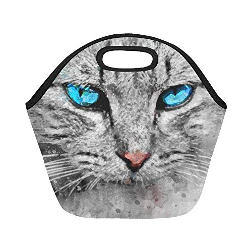 Insulated Neoprene Lunch Bag Cat Watercolor Blue Animal Cute Design Drawing Large Size Reusable Thermal Thick Lunch Tote Bags For Lunch Boxes For Outdoors,work, Office, ()
