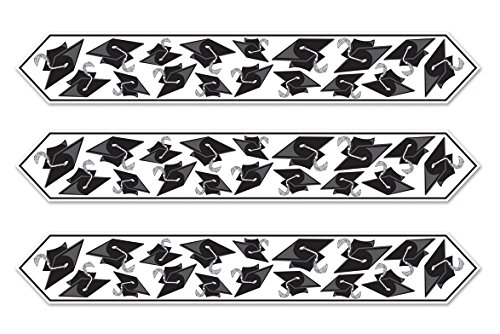 Beistle S57197BKAZ3, 3 Piece Printed Grad Cap Table Runners, 11