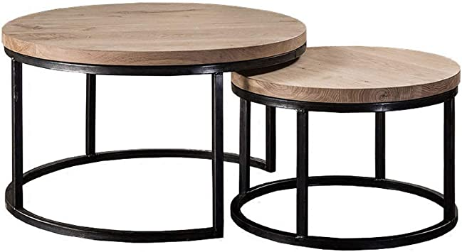 Amazon Com Set Of 2 Modern Nest Of Tables Nesting Coffee Table Round Sofa Side End Table Living Room Wood And Metal Wood Decor Furniture Decor