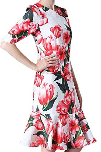erdbeerloft - Damen Floral Gemustertes Midikleid, Mehrfarbig, XS-XL