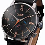Jaragar Men Automatic Leather Wrist Watch, Black
