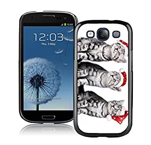 Diy Red Christmas Hat Naughty Cats Black TPU Phone Case For Samsung Galaxy S3,Samsung I9300 Cases
