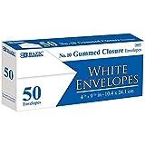 BAZIC #10 White Envelope w/Gummed Closure (50/Pack), Case Pack of 24