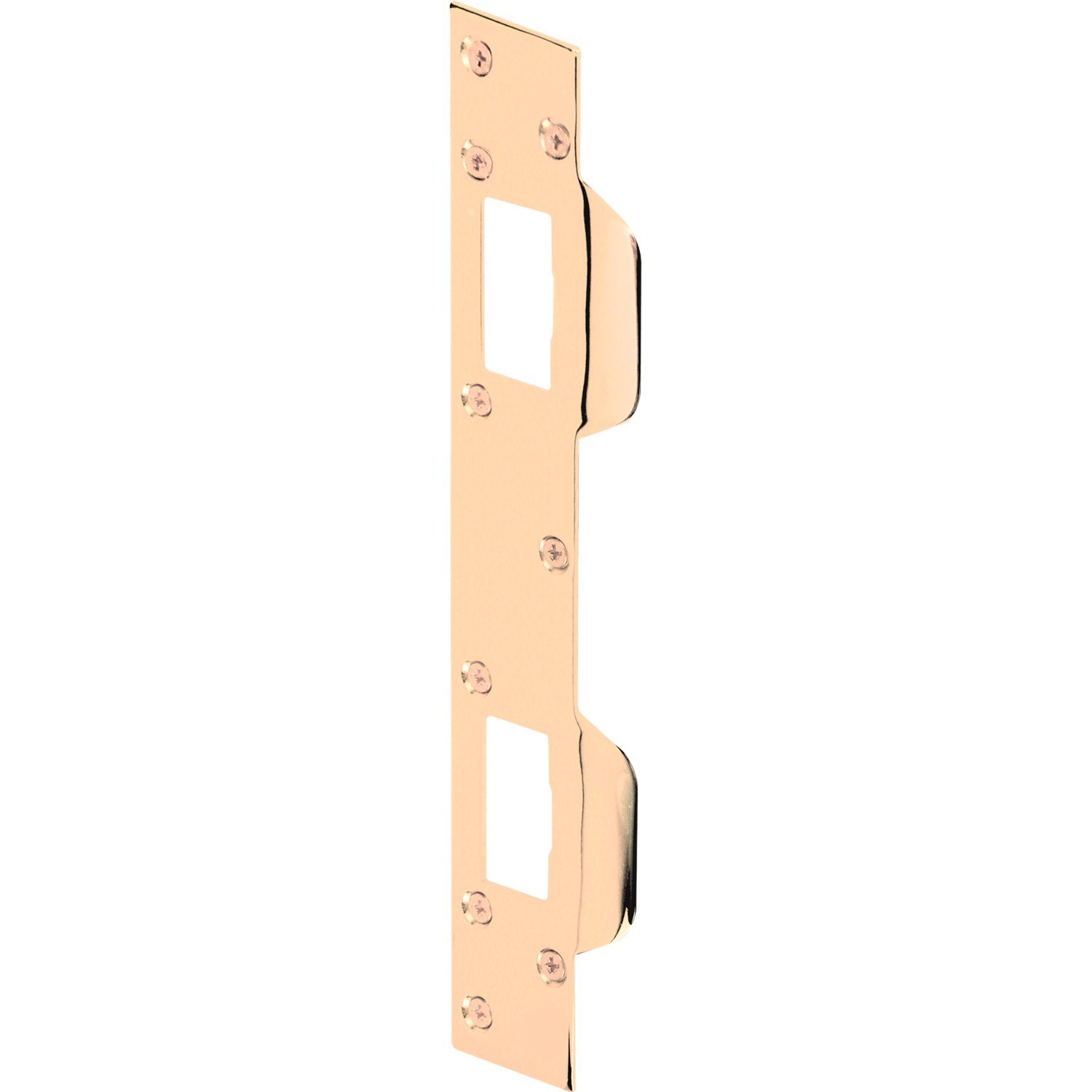 Prime-Line MP9480 Door Strike, Accommodates 5-1/2 in. to 6 in. Hole Centers, Steel, Brass Plated, Pack of 1 6