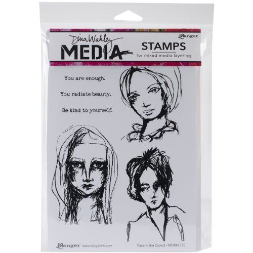 Dina Wakley Media Rubber Face in the Crowd Cling Stamps, Multi-Colour by Ranger by Ranger