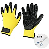 Pet Grooming Gloves - Prime Hair Remover Brush for Dogs, Cats & Horses with Long Short Fur - Gentle Massage Bathing Brush Tool - As Seen on TV - with Pet Grooming Scissors