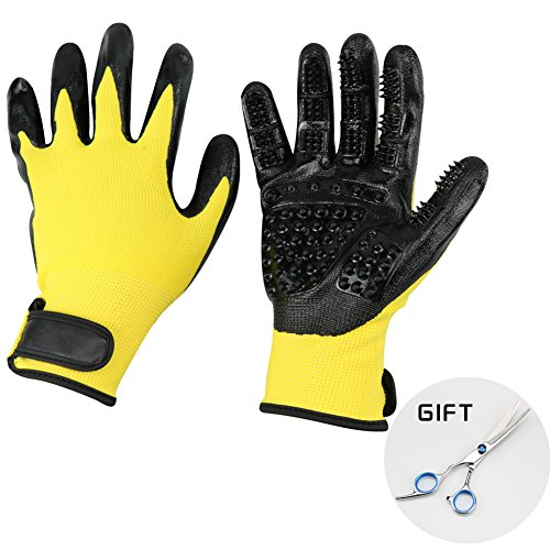 Pet Grooming Gloves - Prime Hair Remover Brush for Dogs, Cats & Horses with Long Short Fur - Gentle Massage Bathing Brush Tool - As Seen on TV - with Pet Grooming Scissors by PlantLover (Image #1)