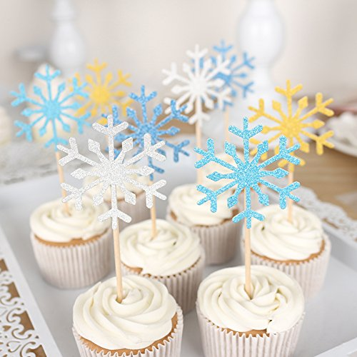 20pcs Cake Topper Handmade Beauty Snowflake Cupcake Toppers Birthday Wedding Party Decoration - Snowflake Wedding Cake Top