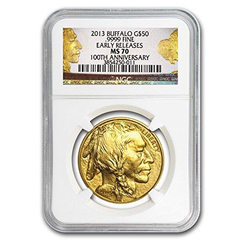 2013 1 oz Gold Buffalo MS-70 NGC (ER, 100th Anniv Label) 1 OZ MS-70 NGC