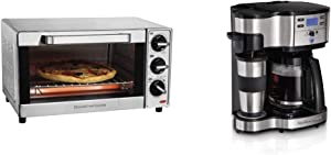 Hamilton Beach Countertop Toaster Oven & Pizza Maker, Large 4-Slice Capactiy, Stainless Steel (31401) & 2-Way Brewer Coffee Maker, Single-Serve and 12-Cup Pot, Stainless Steel (49980A), Carafe