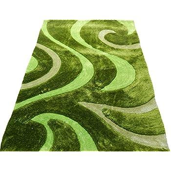 Amazon Com Shag Shaggy Modern Multiple Green Lime 5x7
