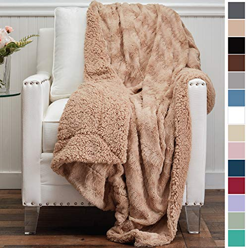 The Connecticut Home Company Luxury Faux Fur with Sherpa Reversible Throw Blanket, Super Soft, Large Wrinkle Resistant Blankets, Warm Hypoallergenic Washable Couch or Bed Throws, 65x50, Beige (Couch Camel Brown)