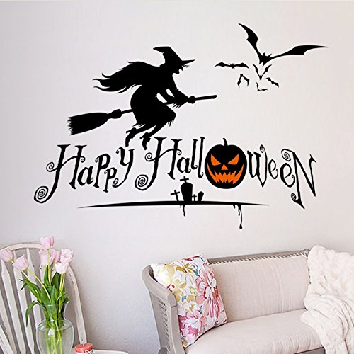 TONGROU Halloween Witch Horror Ghost Wall Sticker Removable Scary Wall Decals Home (Halloween Forest Scene Setter)