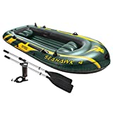 "Seahawk 4 Boat Set for up to 4 people includes pump and 48"" aluminum oars. Made from SUPER-TOUGH vinyl for durability. Inflatable seats and floor for comfort. US Coat Guard approved.Ideal for recreational boating or fishing on lakes and calm rivers, ..."