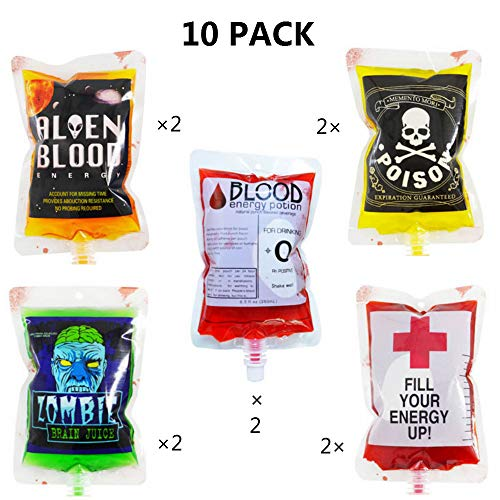 (10 Packs 5 Patterns) Halloween Blood Bag for Drinks Fantastic Halloween Party Cups Blood Container For Terror Party Novelty Zombie Halloween Drink Bag ()