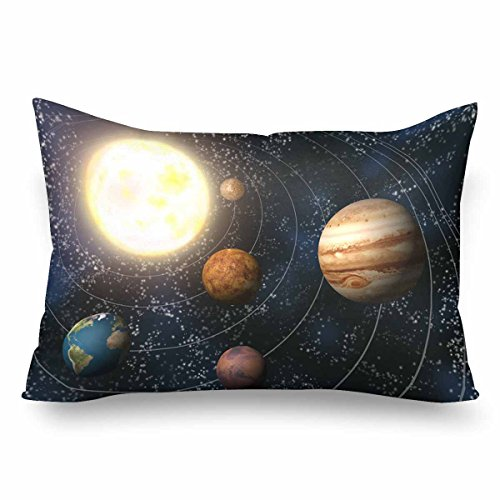 InterestPrint Solar System with Planet Pillow Cases Pillowcase Standard Size 20x30, Rectangle Pillow Covers Protector for Home Couch Sofa Bedding Decorative by InterestPrint