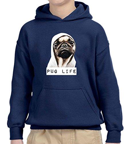 Hoodie Pug (New Way 014 - Youth Hoodie Pug Life Wearing Hoodie Unisex Pullover Sweatshirt Medium Navy)