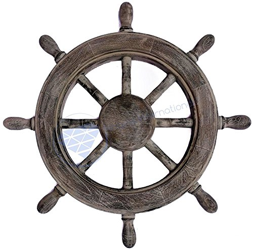 Nagina International Frosty Antique Junkyard Crafted Wooden Ship Wheel | Pirate's Home Wall Decor (36 Inches, Matte Finish)
