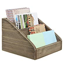 MyGift Vintage Dark Brown Wood 4 Compartments Decorative Rustic Mail Sorter/Office Desk Stationary Organizer